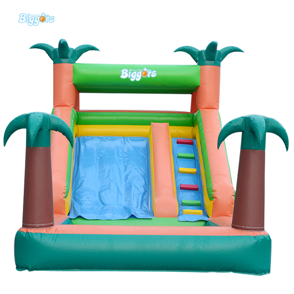 En71 Certificate Kids Tropical Inflatable Water Slide Pool For Commercial Use popular best quality large inflatable water slide with pool for kids