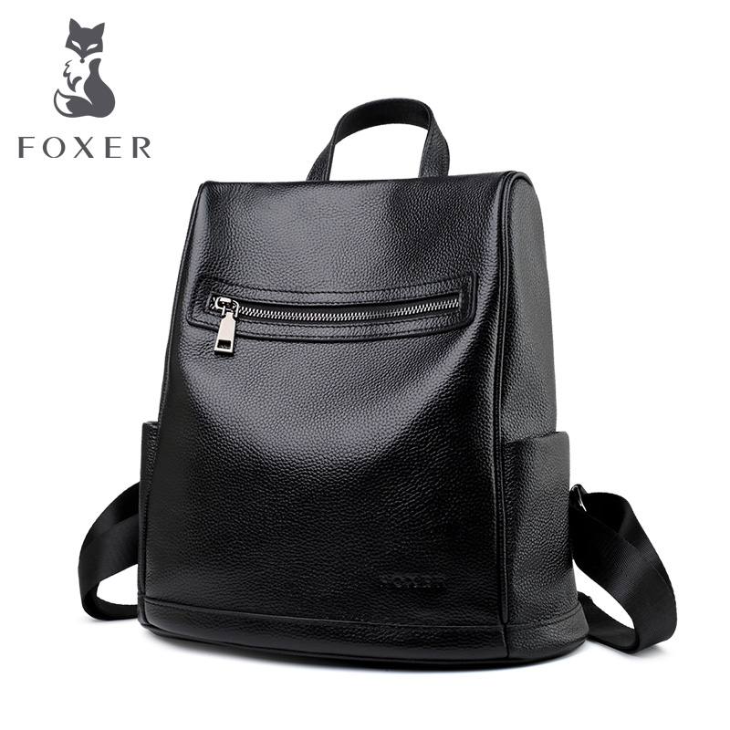 FOXER Commuter Style Women Backpack Cowhide Leather Female High Quality School Bag College Student Bag Lady Large Capacity BagFOXER Commuter Style Women Backpack Cowhide Leather Female High Quality School Bag College Student Bag Lady Large Capacity Bag
