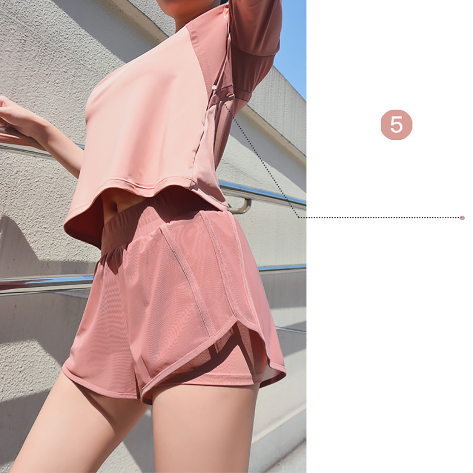 Women's Mesh Yoga Sets Running Tracksuit Fitness Clothing Sportswear Short Sleeve Tops Gym Shorts Breathable Quick Dry Clothes 8
