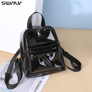 SWYIVY Plastick Jelly Shoulder Bag Woman Summer PVC Transparent Backpack Beach Holiday 2019 Lady Waterproof Backpacks For Woman 2