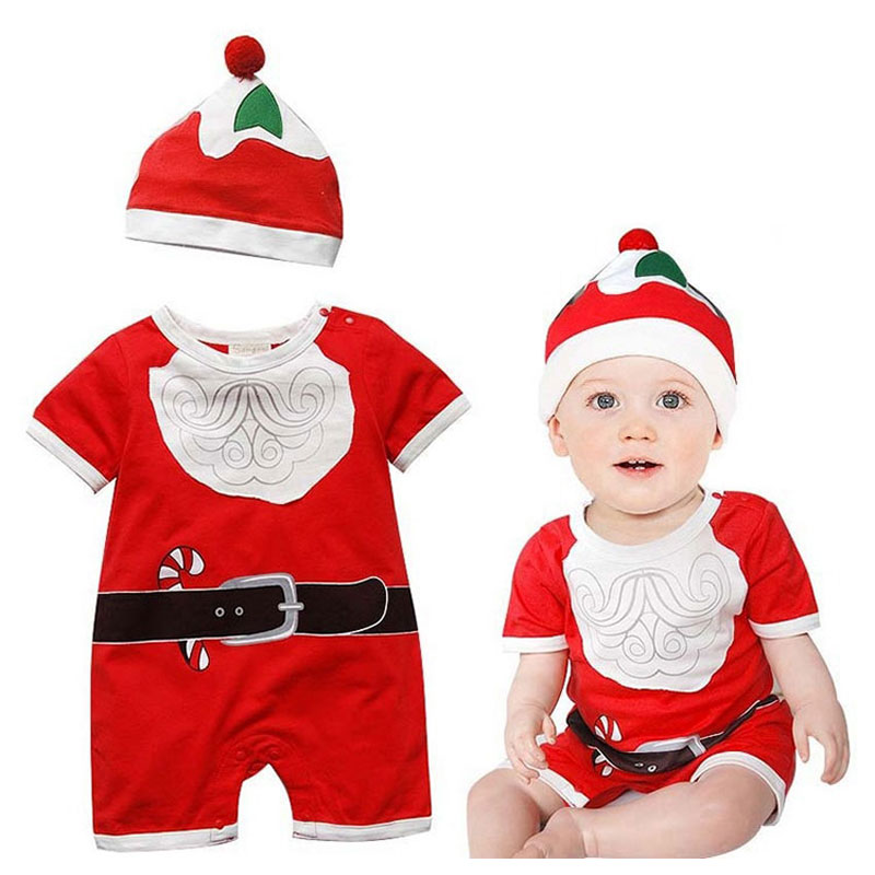 Baby Boy Girl Short Sleeve Rompers for New Year Infant Toddler Baby Fashion Outerwear Christmas Cotton Jumpsuit Child Romper+Hat