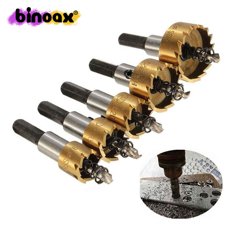 цена на Binoax 5 Pcs Carbide Tip HSS Drill Bit Saw Set Metal Wood Drilling Hole Cut Tool for Installing Locks 16/18.5/20/25/30mm