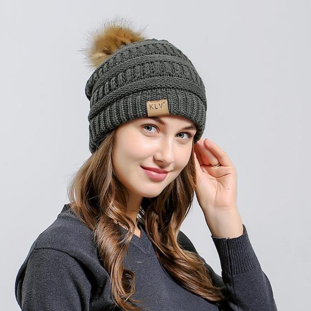 Fashion Pom Pom Hat For Women Grils Skullies Women s Beanies Warm Knitted  Hat Female Winter Cap 7682d964b