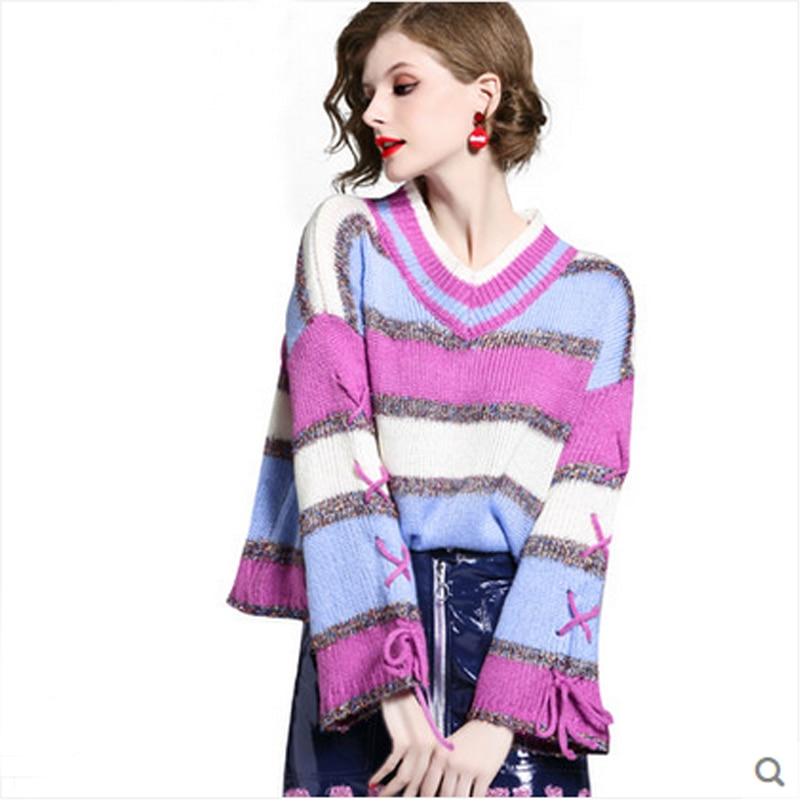 Lâche Patchwork tricoté arc-en-ciel rayure femmes chandail manteau hauts