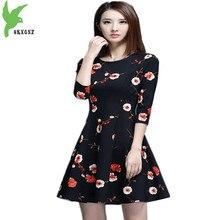 OKXGNZ New Knitted Print Women Dress 2017Spring High Quality Short Dress Round Collar Long Sleeve A
