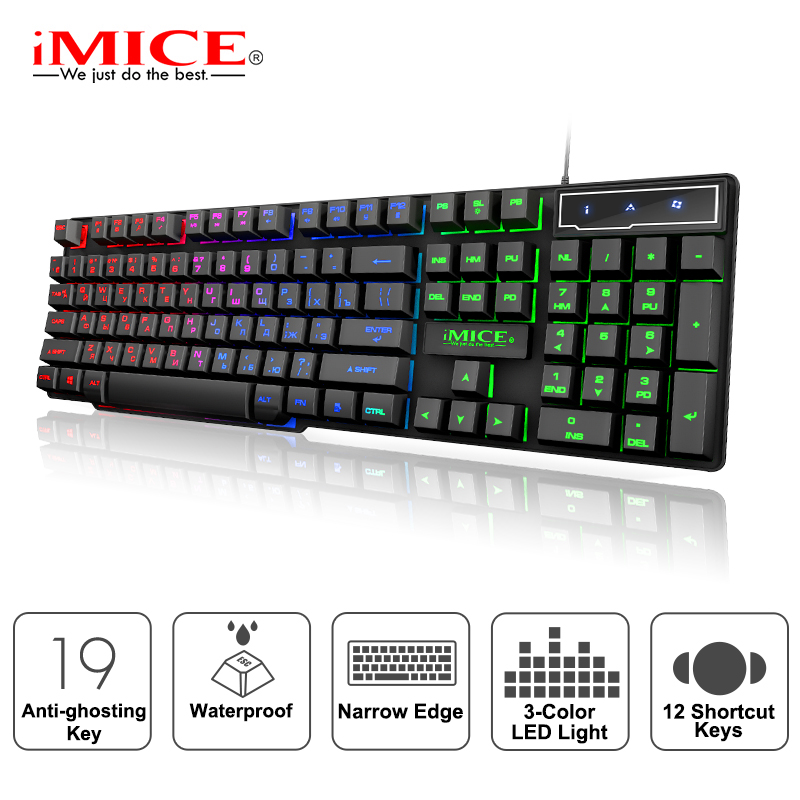iMice Gaming Keyboard Imitation Mechanical Keyboard with Backlight Russian Gamer Keyboard Wired USB Game keyboards for Computer