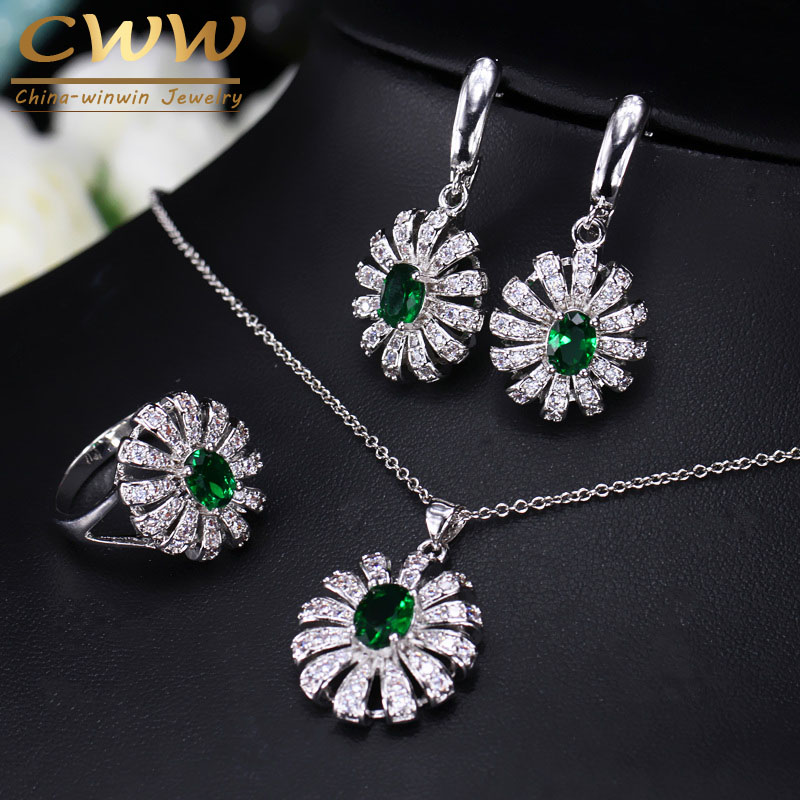 CWWZircons Lovely Flower CZ Stone and Green Crystal Necklace Earring Ring Set Fashion 925 Sterling Silver Jewelry For Women T282 цена и фото