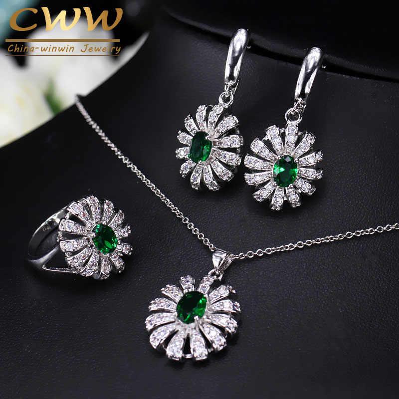 Cwwzircons linda flor cz pedra e colar de cristal verde brinco anel conjunto moda 925 prata esterlina jóias para mulher t282