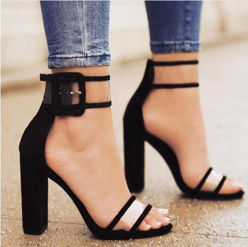 Denim Blue Transparent Ankle Strap Sandals For Women Thick High Big Ankle Buckle Sandalias mujer Cut-out High Heel Shoes  hot selling denim blue ankle strap buckle high heel sandals cut out thick heel gladiator sandals for women summer dress shoes