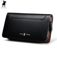 Men Fashion Business Small Clutch Wallet 100% Real Leather WILLIAMPOLO 2018 New Design Double Zipper Cowhide handbag Black Brown