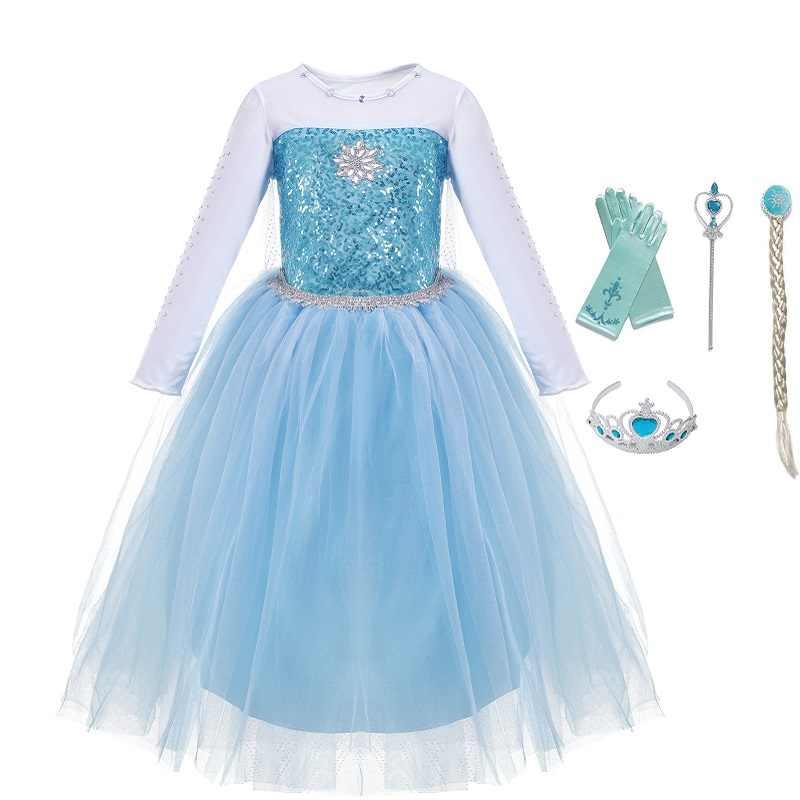 ade10def4598d VOGUEON Little Girls Princess Elsa Dress up Fancy Costume Snowflake Sequin  5 Layer Girl Snow Queen