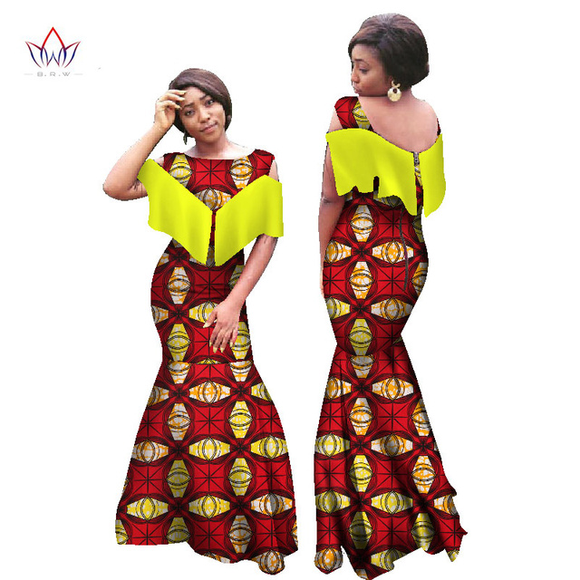 e5c8c41b288 BRW African Dresses for Women Sleeveless Mermaid Dresses Maxi Dress Long  Dress Bazin Rinche Plus Size African Clothing 6XL WY990