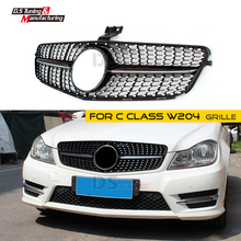 New Diamond Style Racing Grille for Mercedes W204 C Class For Benz ABS Silver/Black Bumper Grill C300 C350 2008-2014