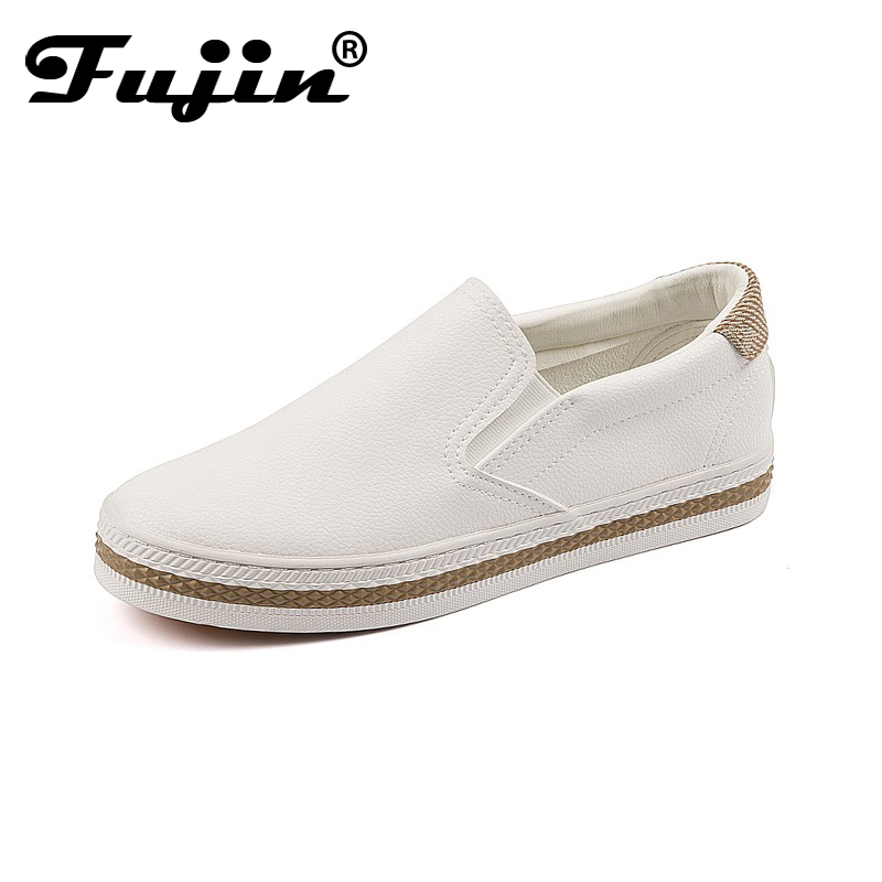 Fujin 2018 New Fashion Spring Autumn PU Leather women loafers shoes slip on shoes Lady shoes High Quality Casual Shoes fujin summer autumn winter korean fashion solid leather platform wedge casual shoes women increasing loafers slip on shoes woman
