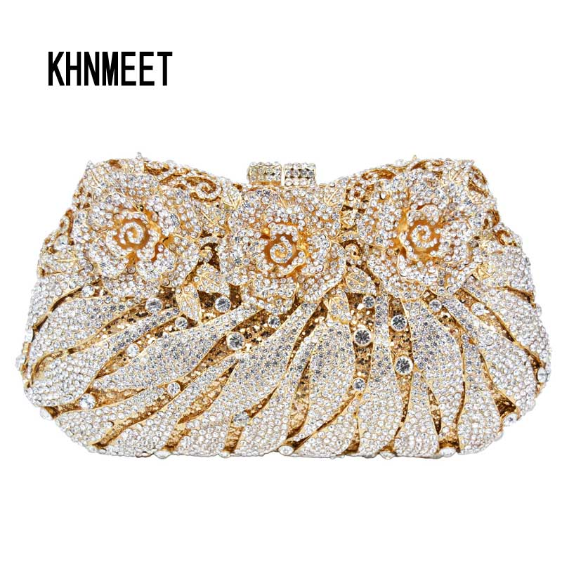 Women Crystal Evening Bag Gold Silver Flowers diamante Clutch Bag Female Party Evening Purse banquet pochette Handbags luxury crystal clutch handbag women evening bag wedding party purses banquet