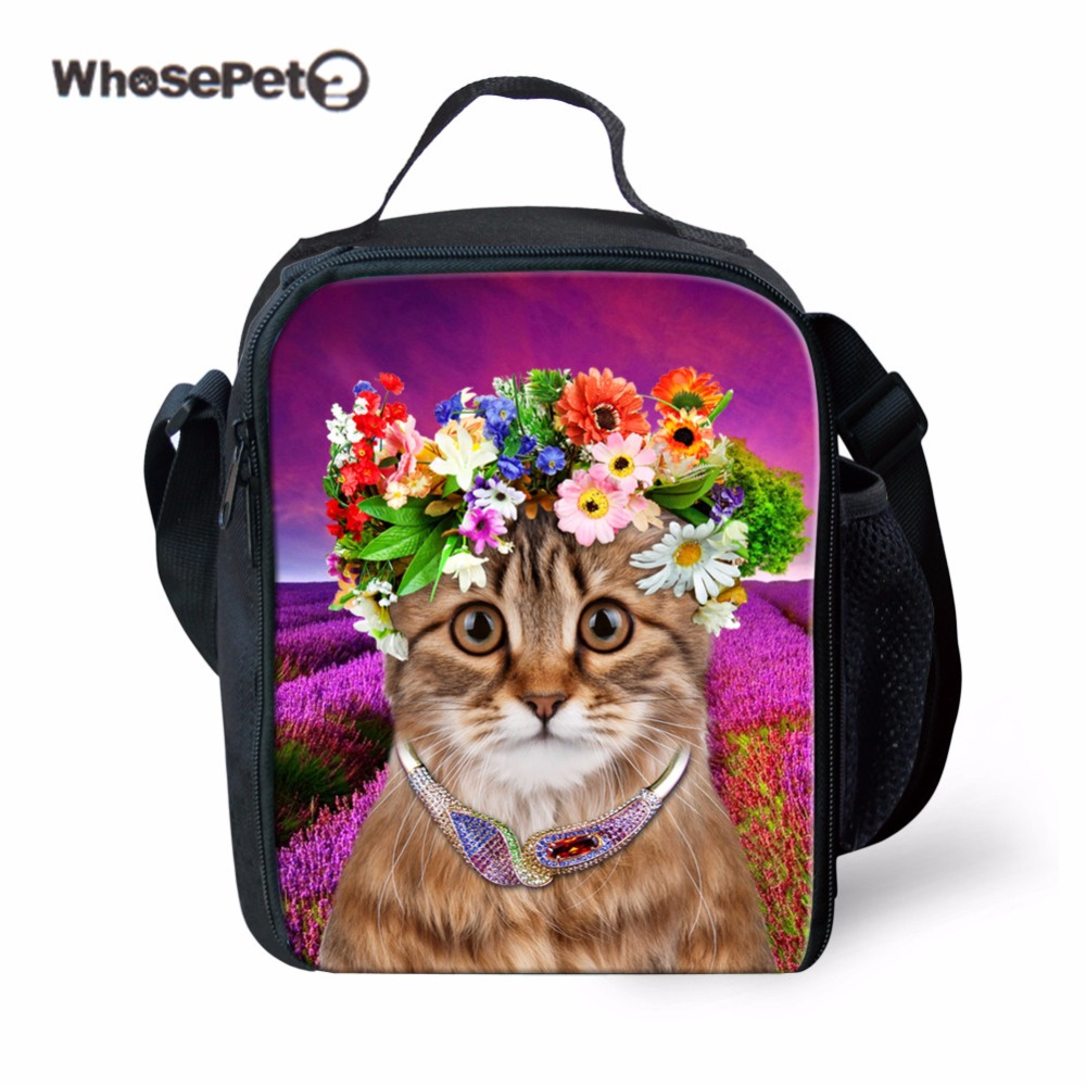 WHOSEPET Nice Cat Print Food Container Kids School Lunch Box Container Children School Food Package Fashion Picnic Handbag New