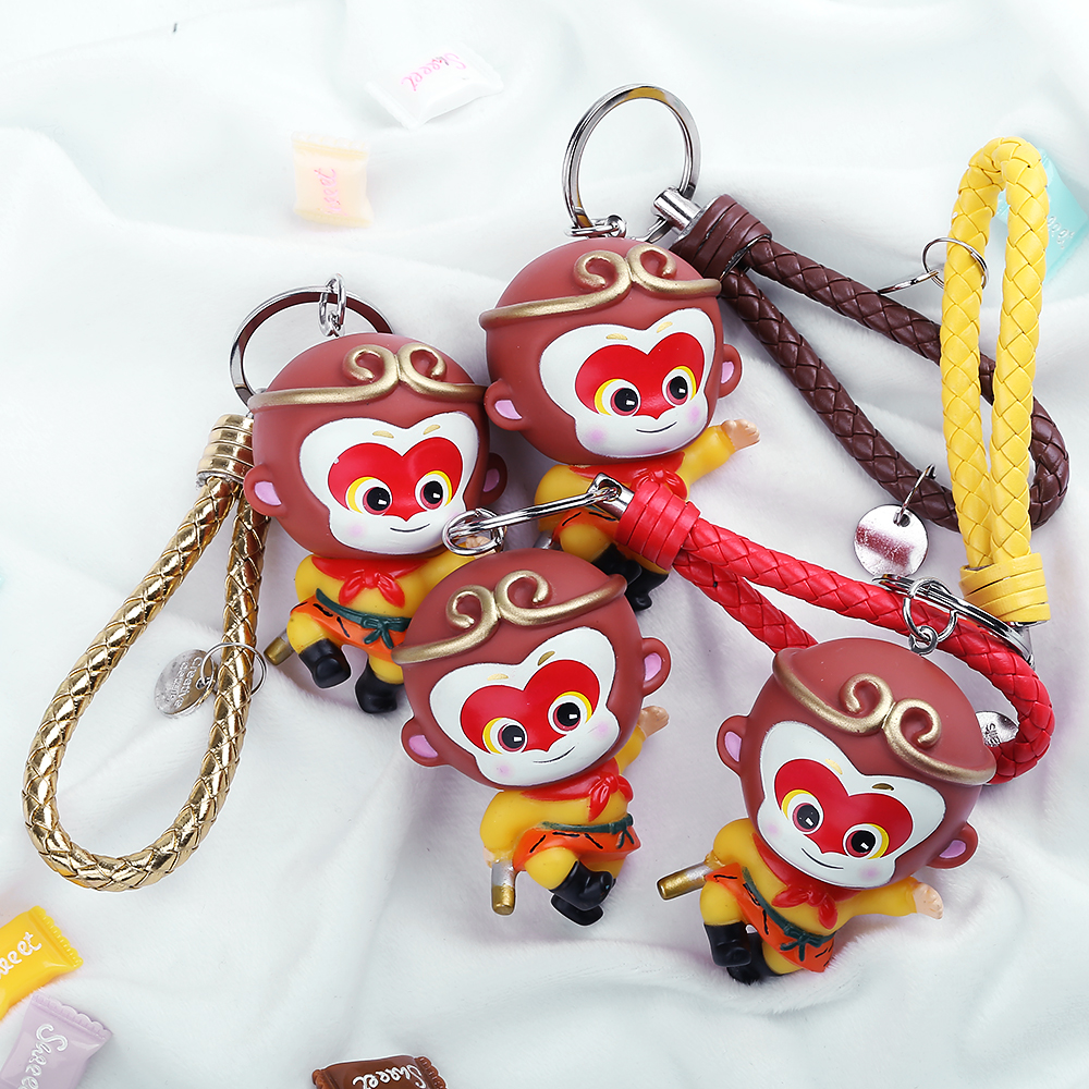 Fashion Creative Anime Movie Cartoon Monkey King Keychains Jewelry Pendants Rubber Doll Trend Car Animale Key Rings Phone