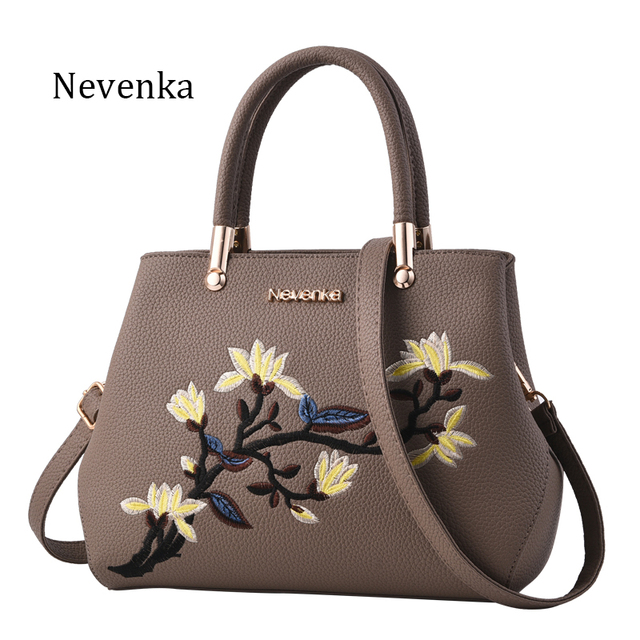 Zipper Embroidery Handbag Flower Bag