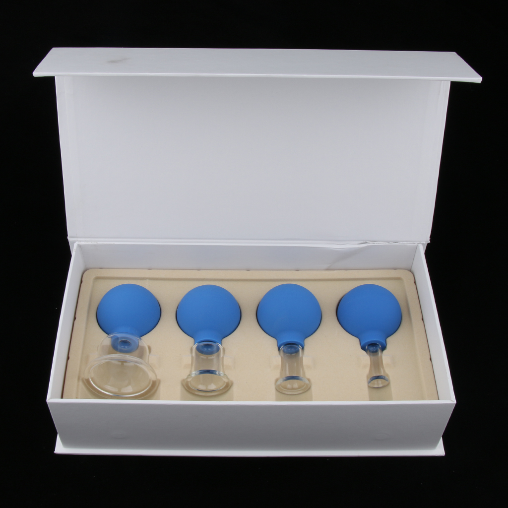4x Glass Silicone Massage Vacuum Cupping Cups Set Kit For Body Face Leg Arm Back Shoulder