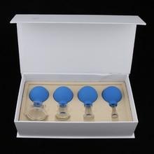 4x vidro silicone massagem vácuo cupping copos conjunto kit para rosto corpo perna braço de volta ombro
