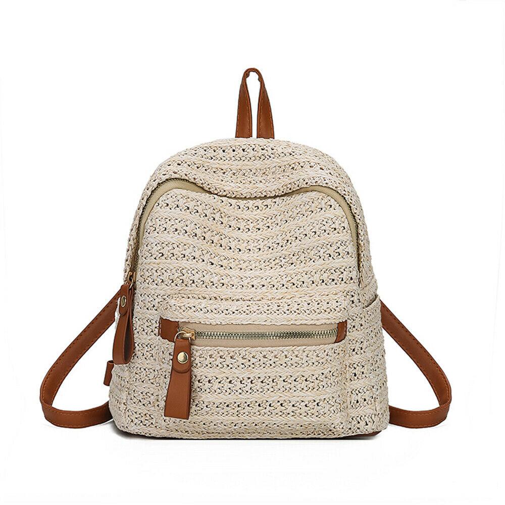 Bohemian Rattan Hand-woven Women's Straw Backpack Fashion School Bag Leisure Travel Shoulder Bag