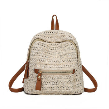 Bohemian rattan hand-woven women's straw backpack fashion school bag leisure travel shoulder bag