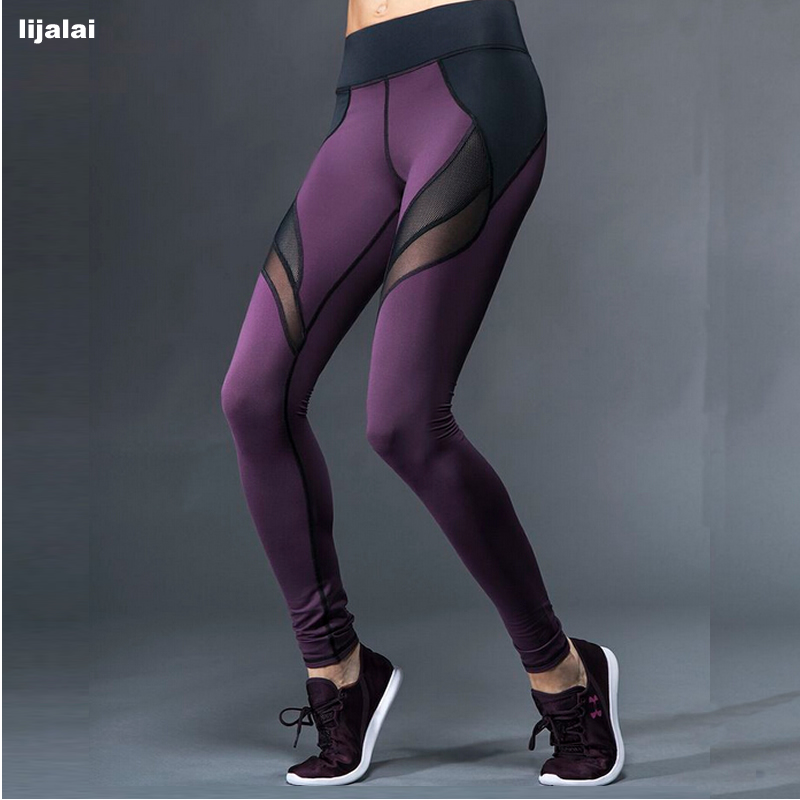 Prix pour Lijalai Femmes Creux net fil épissage Capris pour la Course et Yoga Pantalons et Sport Absorbant à séchage rapide remise en forme Pantalon