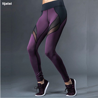 Women Hollow Net Yarn Splicing Capris For Running And Yoga Pants Sport Absorbent Quick Drying Fitness