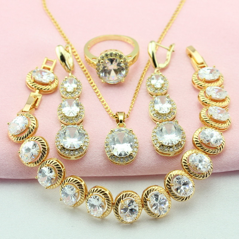 Gold Color Jewelry Sets For Women White Stone Bridal Jewelry Sets Adornment Jewelry Earrings Necklace Pendant Ring Free Gift Box