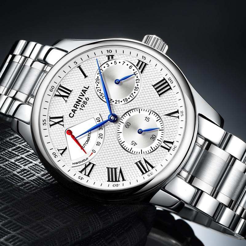 Karneval Männer Automatische Uhr Energie Display Kurze Kleine Sekunden Zifferblatt Datum Luxus Mechanische Uhr - 3