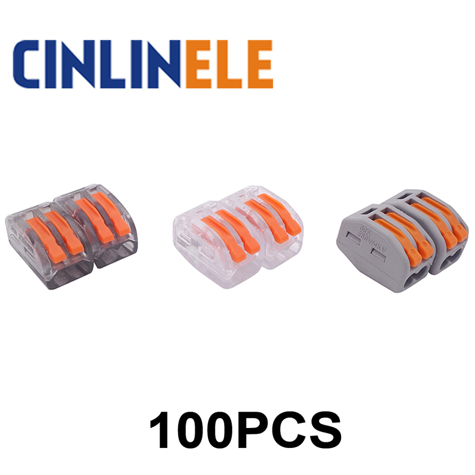 100pcs mini fast WAGO Connector 222-412(PCT212) Universal Compact Wire Wiring Connector 2 pin Conductor Terminal Block