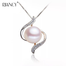 Fashion big pearl pendant necklace,925 sterling silver for women charm jewelry simple