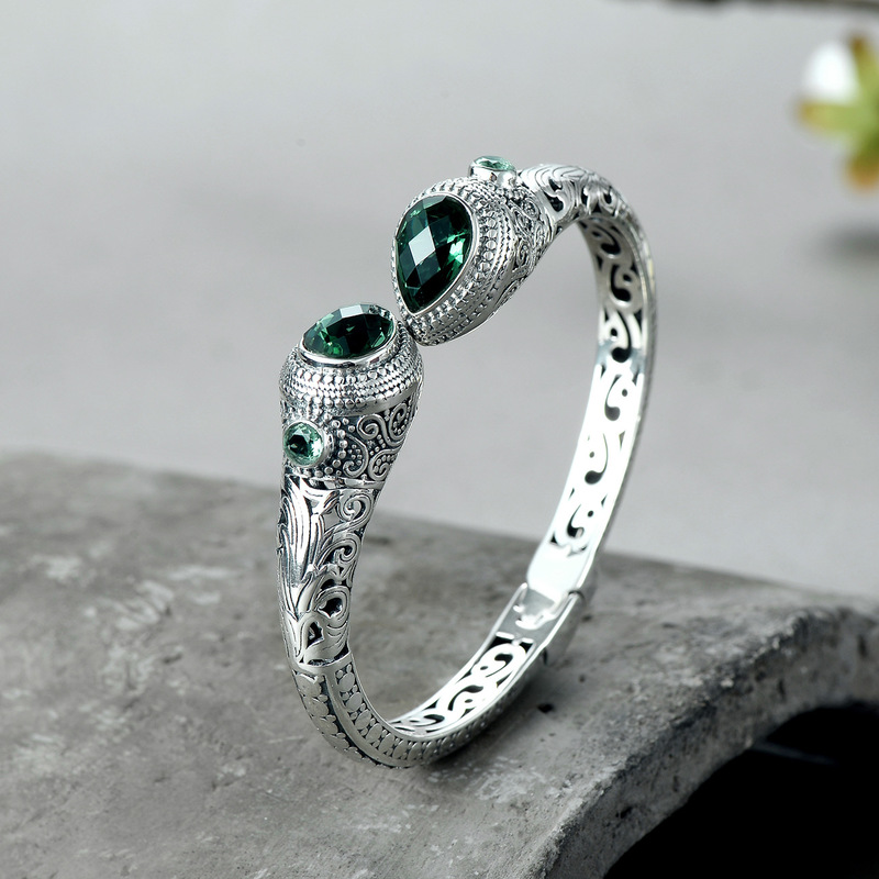 Authentic Vintage 925 Sterling Silver Bangles For Women With Natural Emerald Stone Luxury Jewelry Bracelet Manchette