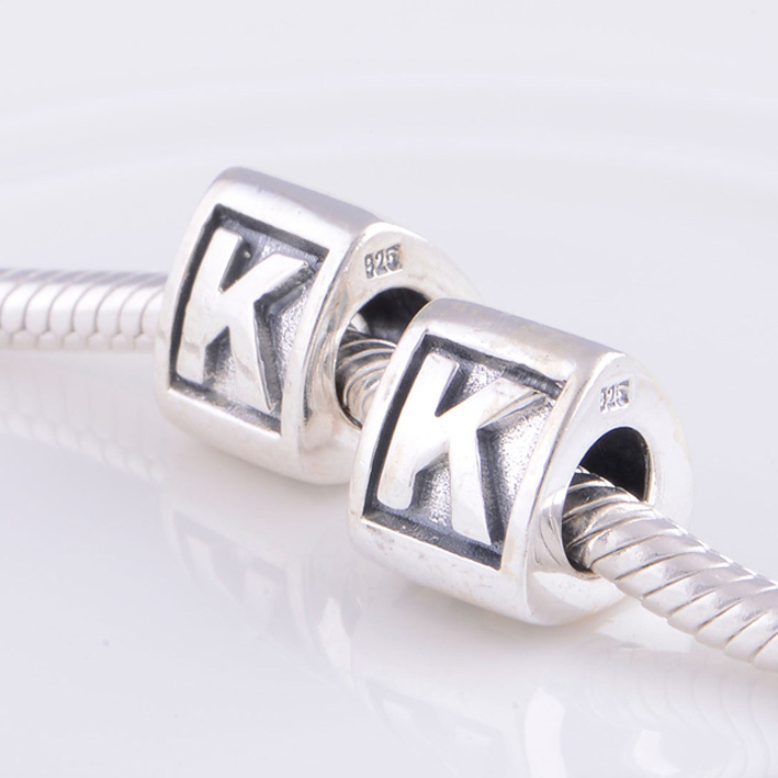 Fits Pandora Charms Bracelet 925 Sterling Silver Beads Alphabet K Charm Bead Letter Diy Making Necklaces Pendants In From Jewelry Accessories On