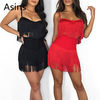 Asins two piece set for women 2019 summer new hot casual fashion solid color sling tassel strapless chest wrapped two piece set