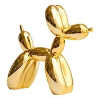 Plating Jeff Koons Shiny Balloons Dog Statue Dog Art Sculpture Animals Figurine Resin Craftwork Home Decoration Accessories R396