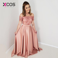 XCOS Pink Formal evening dresses long 2019 Off the Shoulder Beads Lace vestidos elegantes Cheap Prom Dress Bow
