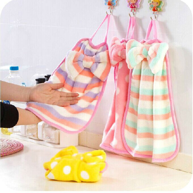 Baby Hand Towel Soft Bow Hanging Towel Wipe Bath Face Towels Breathable Extra-absorbent Cloth Handwash Towels 2016 New arrival