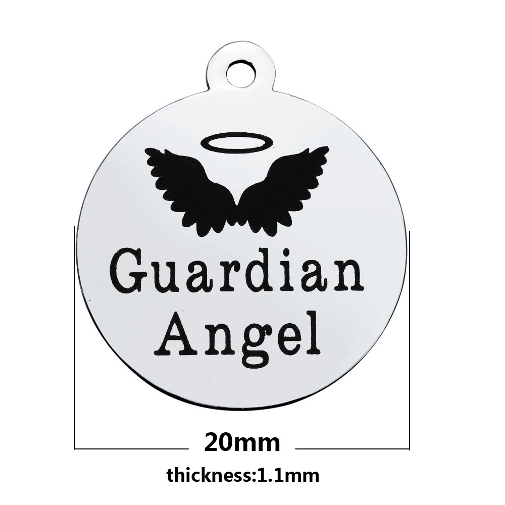 10pcs 20mm Stainless steel disc Tag lettering Guardian Angel with wings Charms For DIY Jewelry bracelet Pendant Jewelry finding