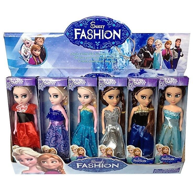 6 pcs set Disney Mainan 16 cm Mainan Boneka Frozen Elsa Anna Putri Mainan  Untuk a4669f8c6a