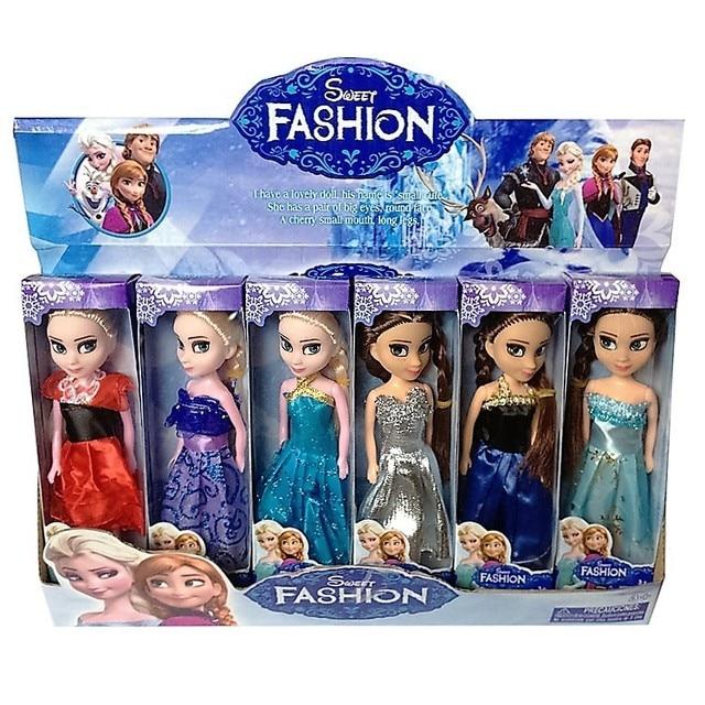 6pcs/set Disney Toys 16cm Elsa Anna Princess Toys For Gilrs Kid Toy Dolls Frozen Cheap Juguetes Brinquedos Infantis