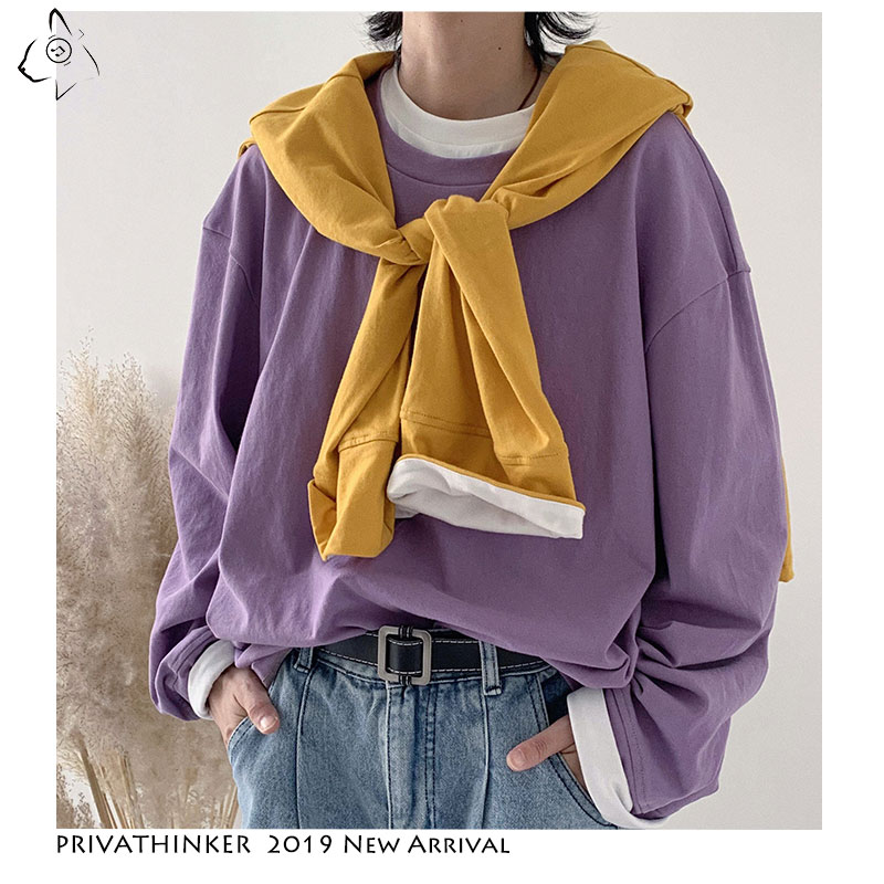 Privathinker Mans 2019 Autumn Harajuku Sweatshirts Men Woman Casual Colorful Hoodies Male Long-sleeved Fake Two-piece Hoodies