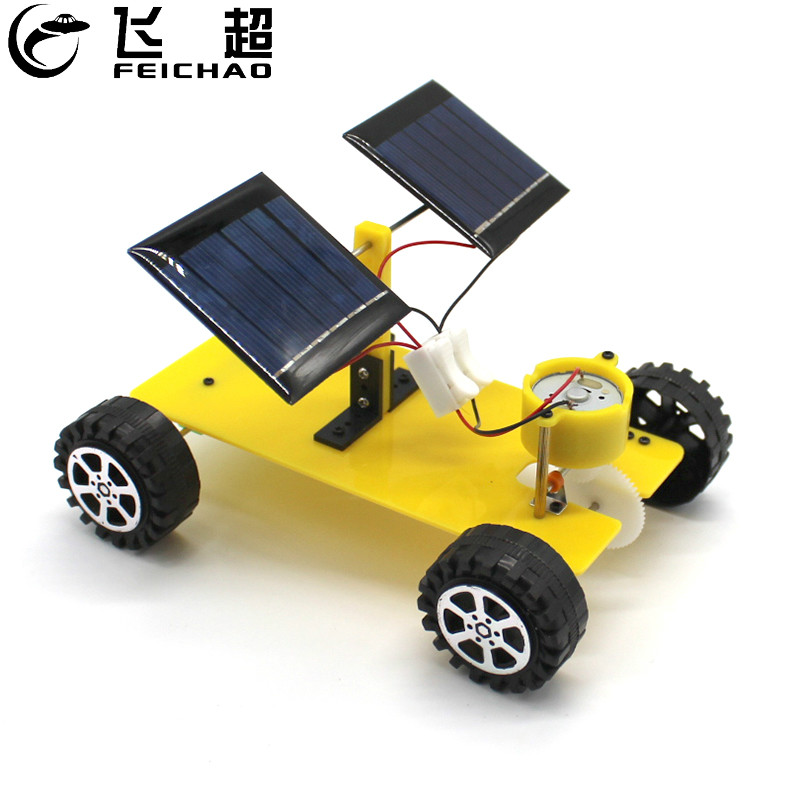 FEICHAO Dual Solar Panel DIY Mini Solar Powered Toy Car Assembly Science Materials Kits Vehicle Model Boy Gift Educational Robot