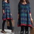 2016 новых осень Корейских женщин платье свободные хлопок с длинными рукавами размер ретро народном стиле белье платье печати