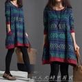 2016 new autumn Korean women dress loose cotton long sleeved size retro folk style linen dress printing