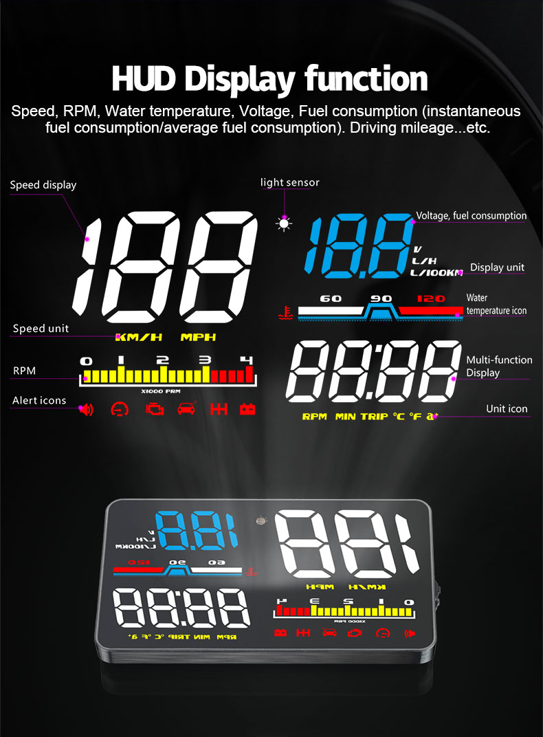 GEYIREN Car HUD D5000 OBD2 Head Up Display Digital Speedometer Windshield Projector Overspeed RPM Water Temperature Alarm in Head up Display from Automobiles Motorcycles
