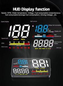 Image 5 - GEYIREN Car HUD D5000 OBD2 Head Up Display Digital Speedometer Windshield Projector Overspeed RPM Water Temperature Alarm