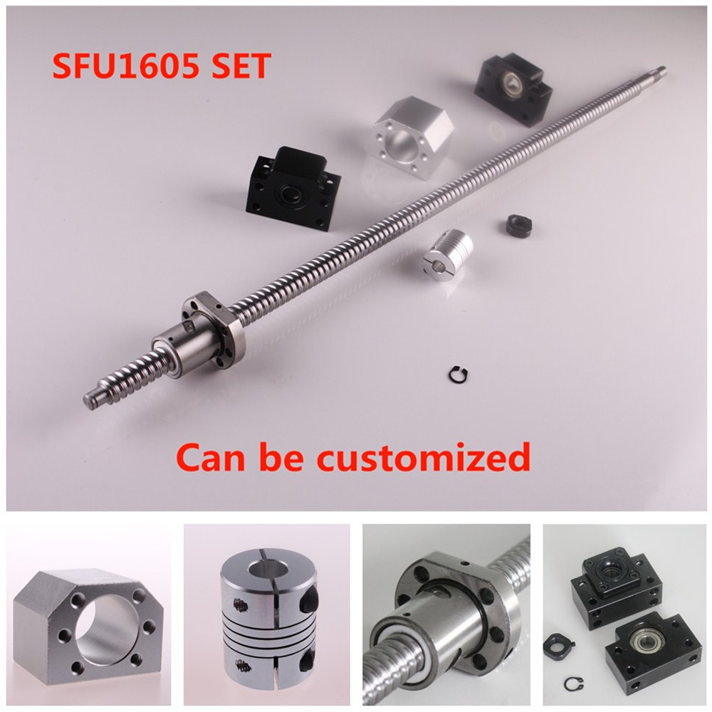 SFU1605 Set SFU1605 rolled ball screw C7 end machined + ballnut + nut housing BK/BF12 end support + coupler RM1605 Ballscrew