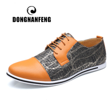 DONGNANFENG Men's Male Fashion Casual Leather Shoes PU Lace Up Gingham Spring Superfine Fiber Korean British Size 47 48 SY-MC677
