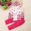 2016 do sexo feminino Tong Chunqiu três-pedaço equipado longo-sleeved jaqueta Primavera e No Outono flor peônia favorito menina vestuário
